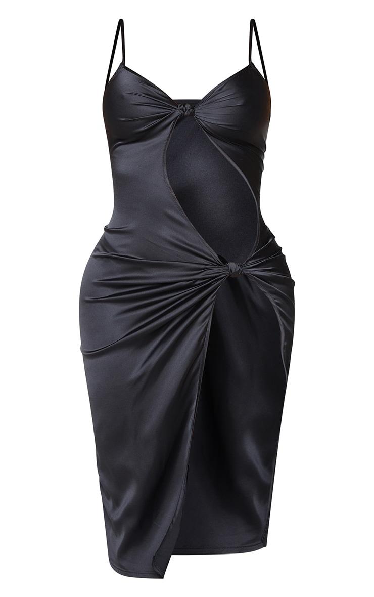 Shape Black Satin Knot Detail Split Front Midi Dress 5