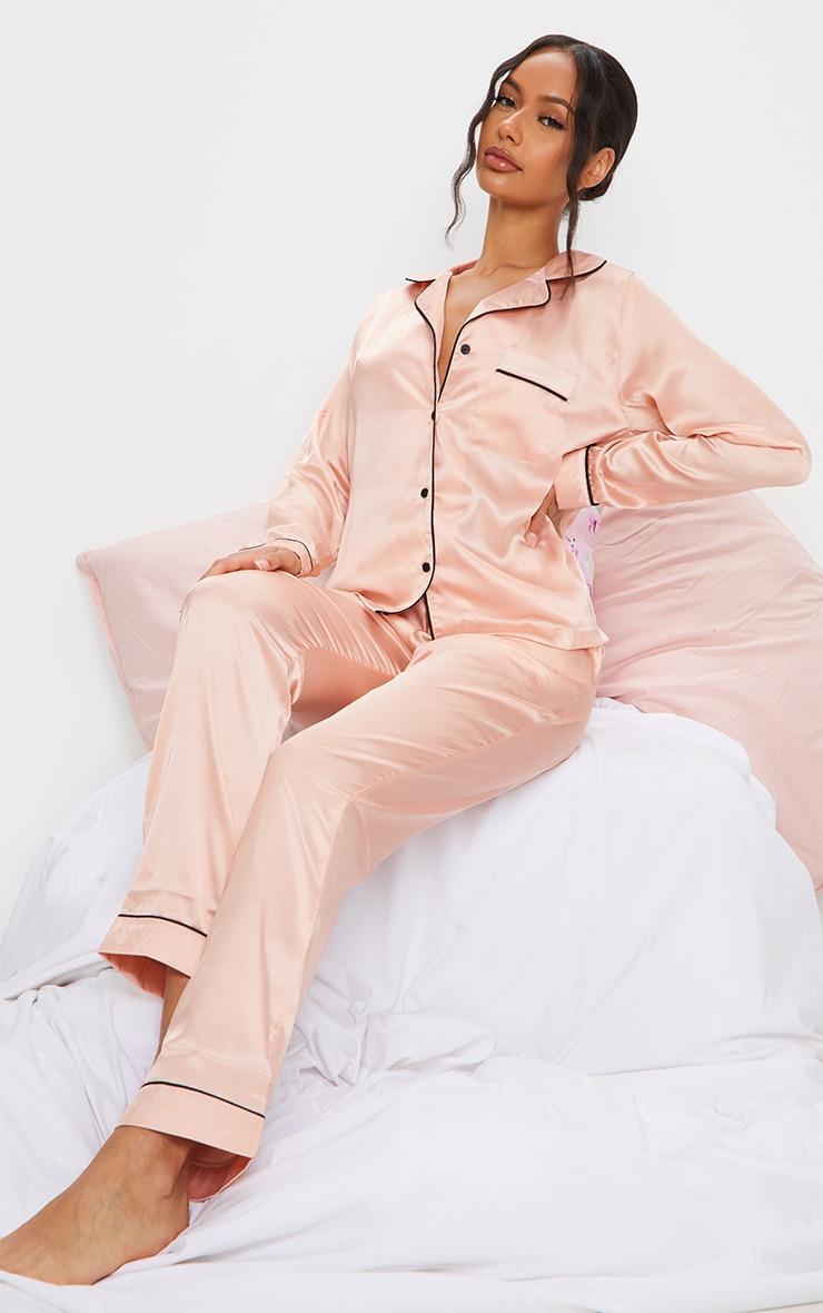 Rose Gold Satin Pocket Long PJ Set 1