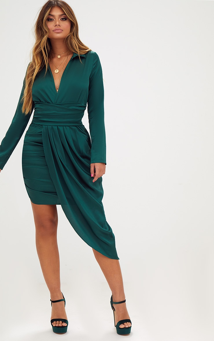 Emerald Green Long Sleeve Satin Asymmetric Drape Midi Dress 1