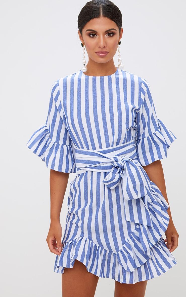 Blue Stripe Frill Detail Mini Dress 1