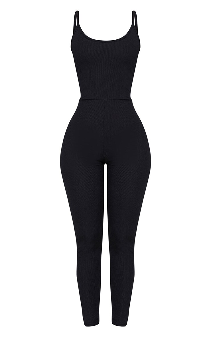 Shape Black Ribbed Square Neck Jumpsuit 3
