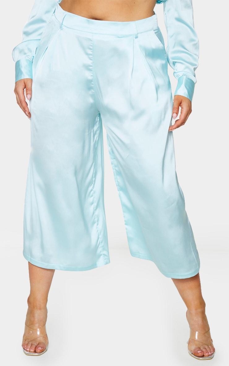 Plus Blue Satin Culottes 2