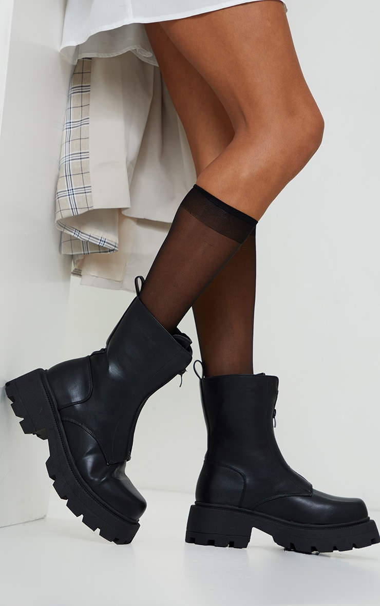 Black Matte PU Chunky Cleated Zip Up Boots 2