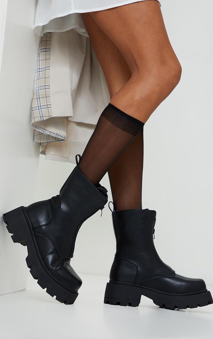 Bottes chunky zippées en similicuir noir mat à crampons 2