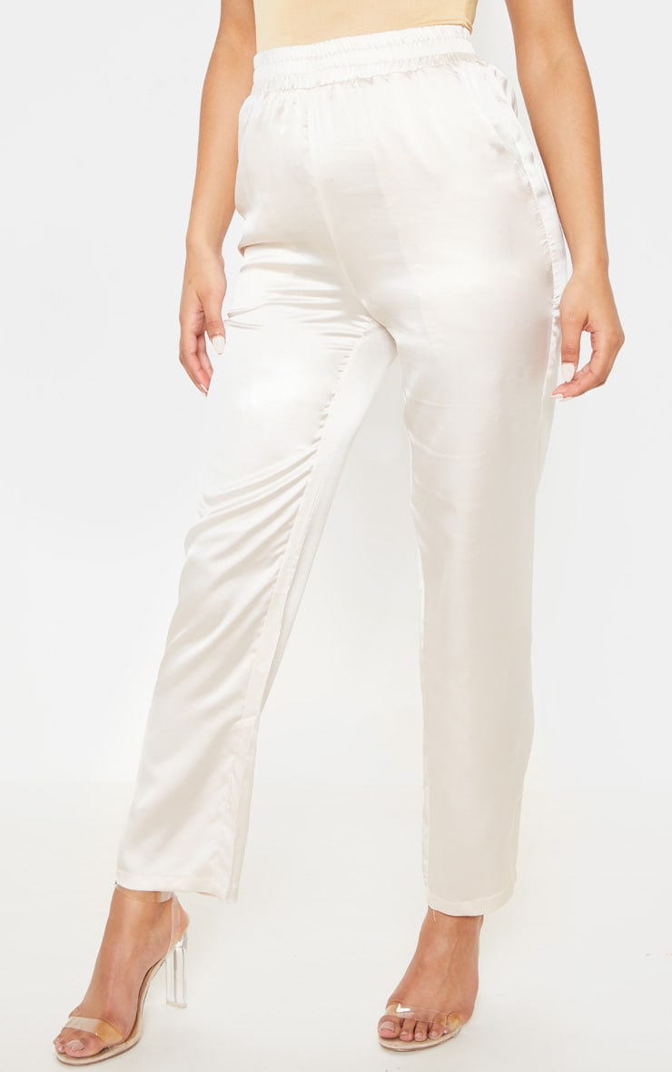Cream Satin Cigarette Casual Pants 2