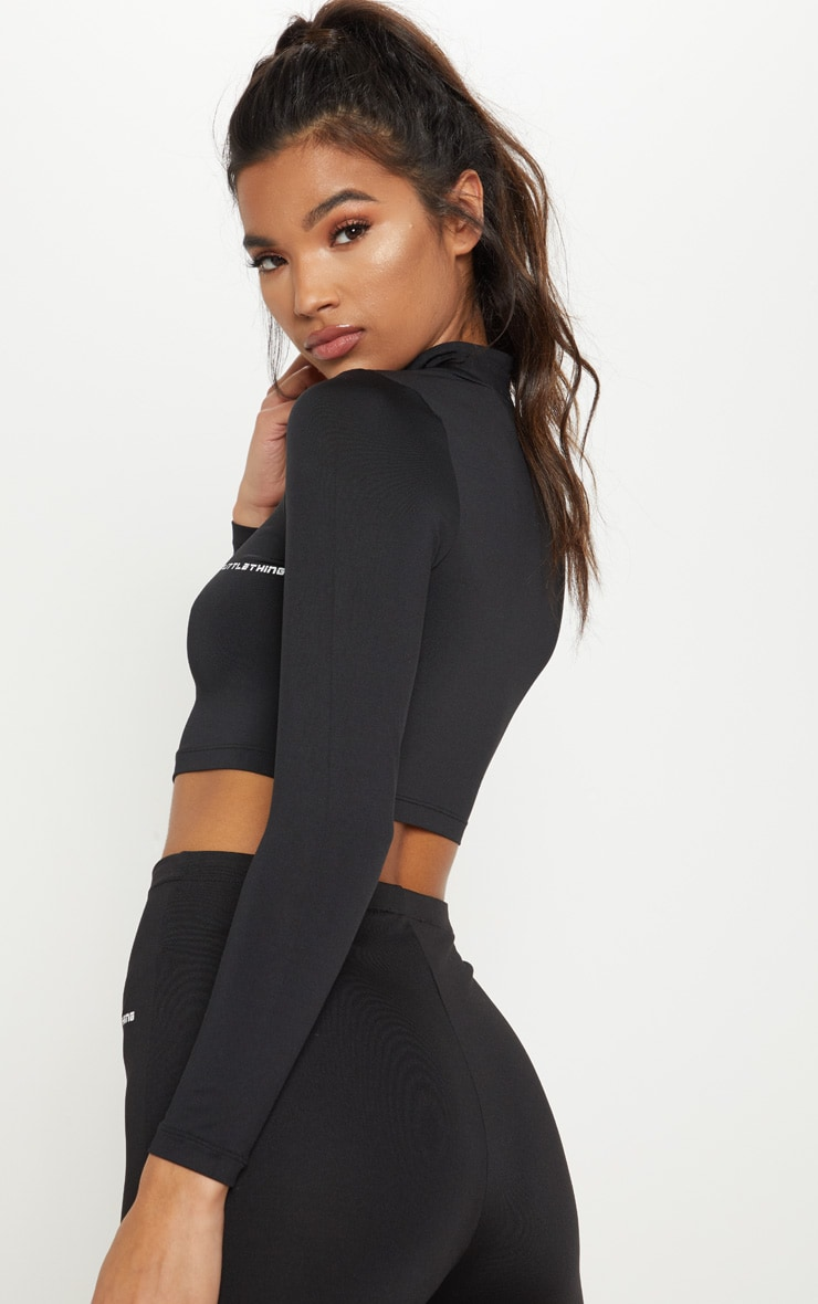 PRETTYLITTLETHING Black Long Sleeve Zip Up Gym Top 2