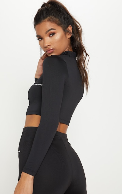 PRETTYLITTLETHING Black Long Sleeve Zip Up Gym Top