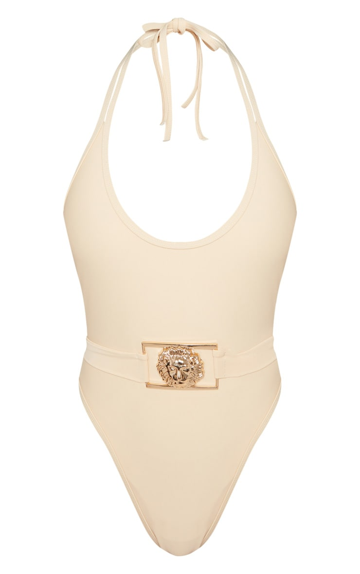 Petite Nude Lion Belted Swimsuit 3