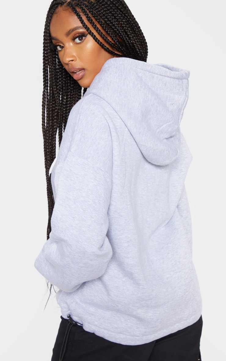 Grey Pocket Button Front Oversized Hoodie 2
