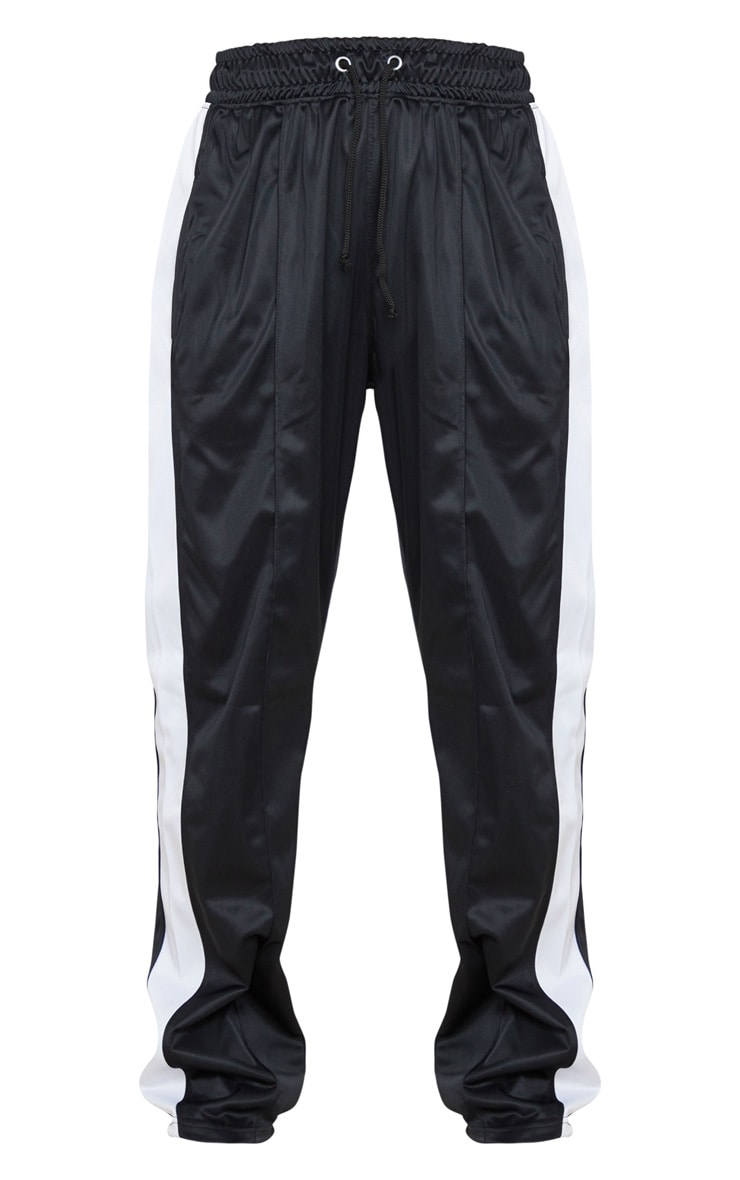 Black Tricot Side Stripe Skinny Joggers 5