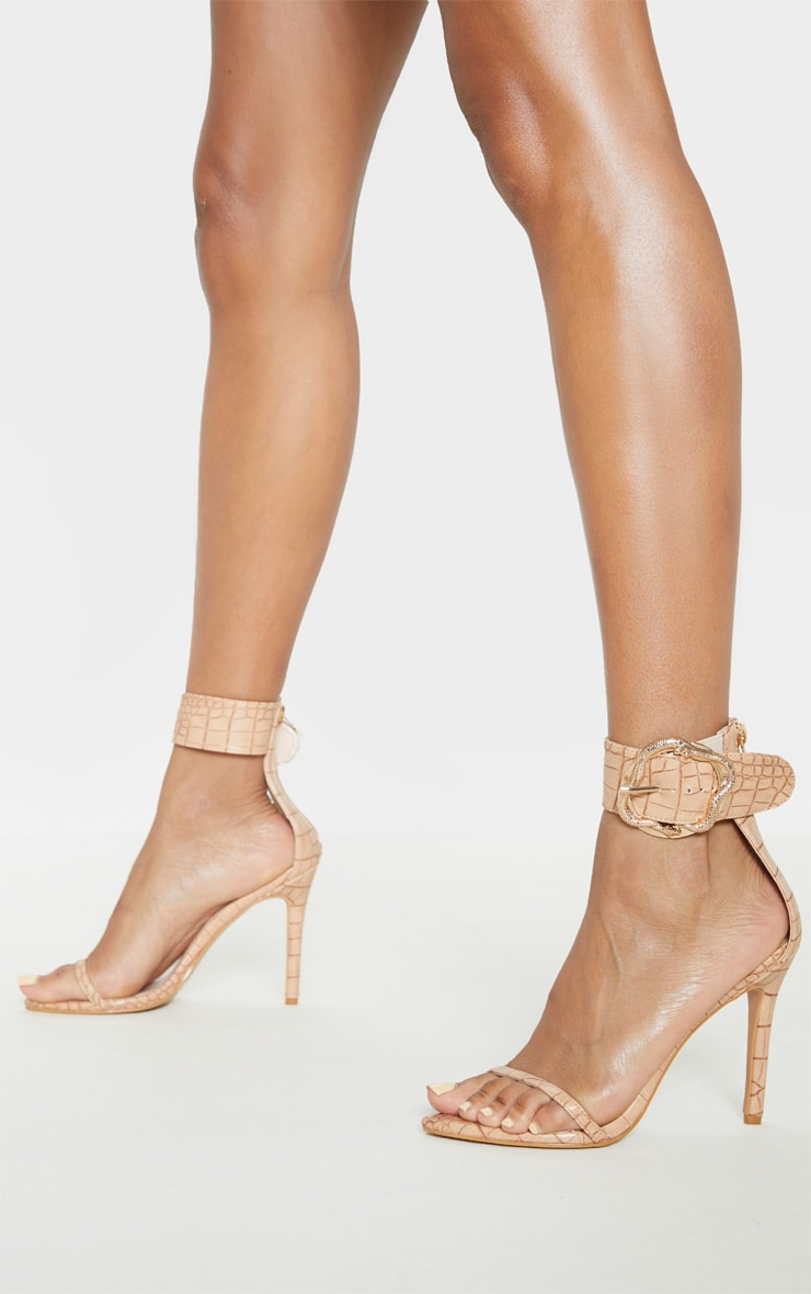 Nude Snake Buckle Strappy Sandal 1