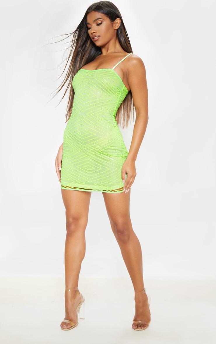 Lime Glitter Diamond Square Neck Bodycon Dress 4