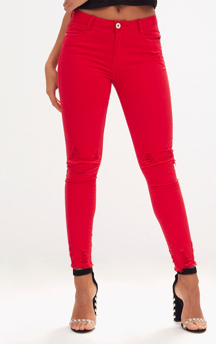 Red Low Rise Distressed Rip Skinny Jean  2