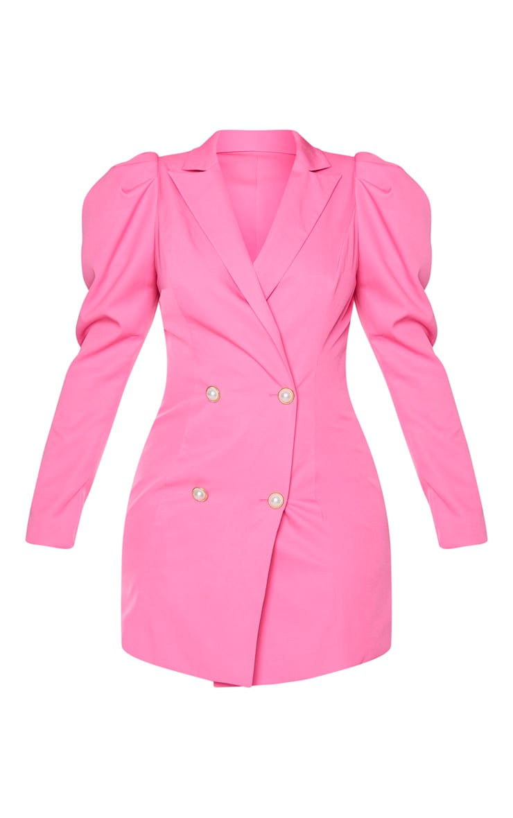 Hot Pink Puff Sleeve Pearl Button Blazer Dress 5