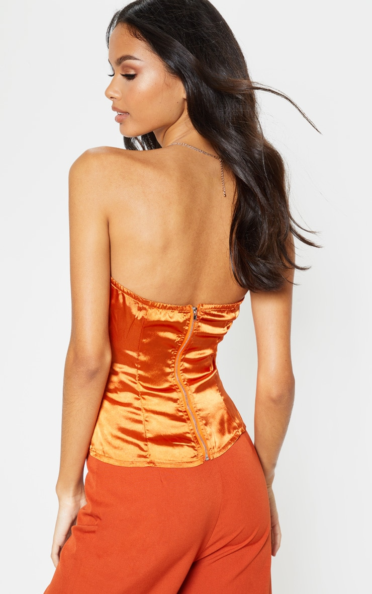 Burnt Orange Satin Corset 2