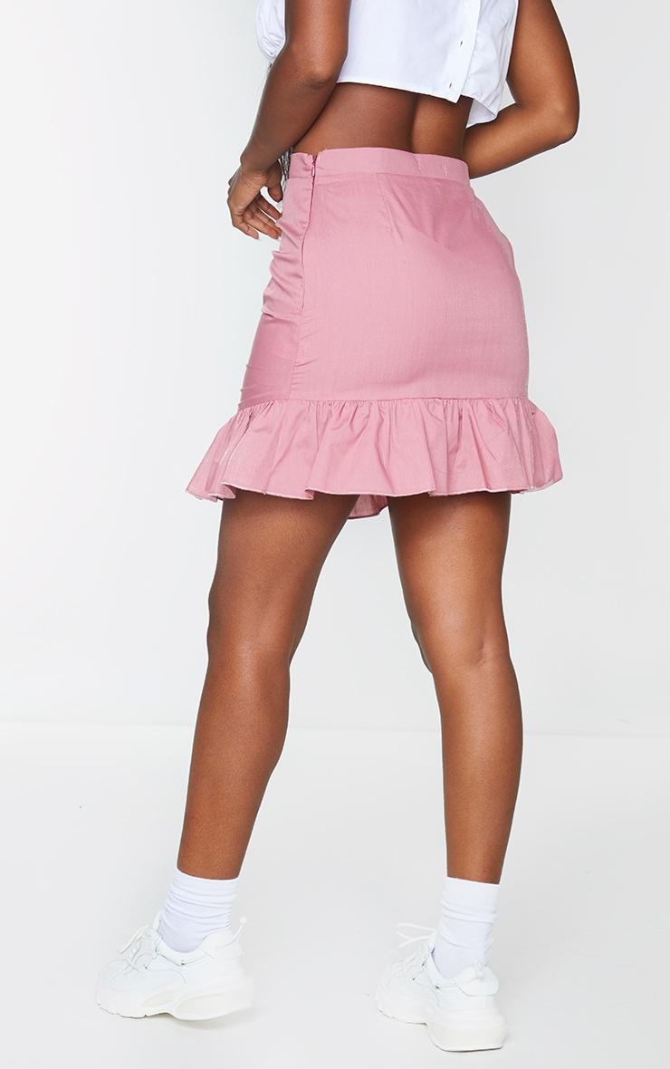 Dusty Pink Woven Ruched Frill Hem Mini Skirt 3