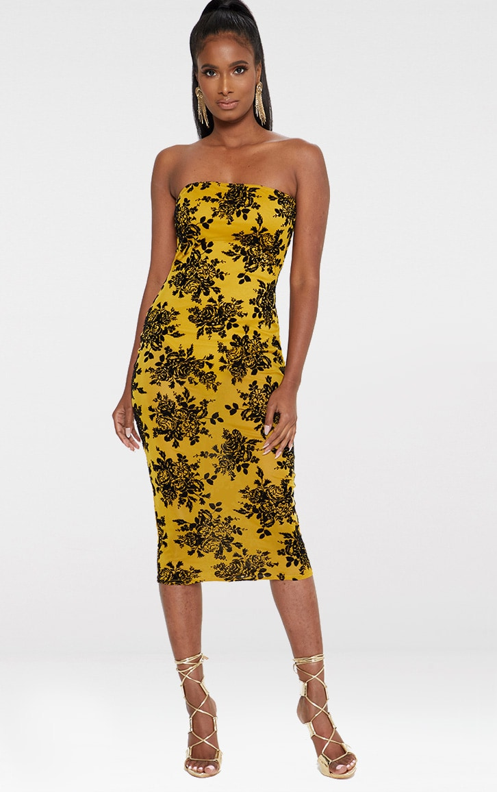 Mustard Flocked Bandeau Midi Dress 1