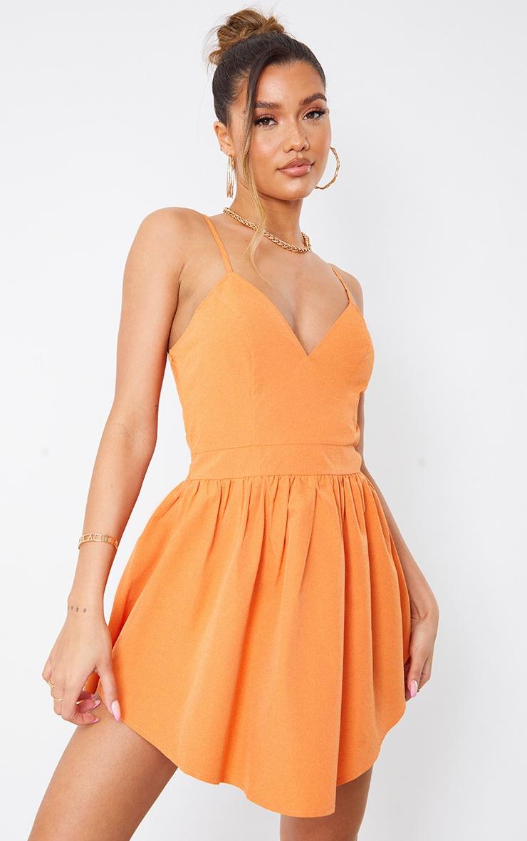 Orange Textured Strappy V Neck Skater Dress 1