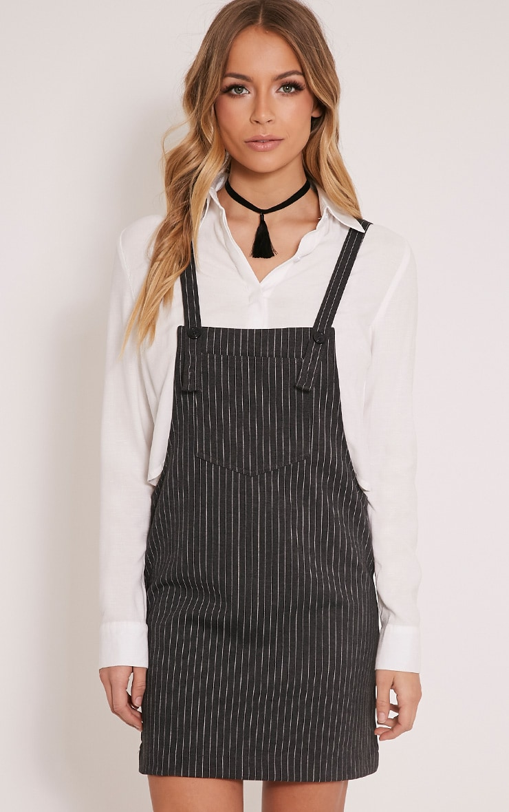 Adyna Grey Knitted  Pinstripe Pinafore Dress 1