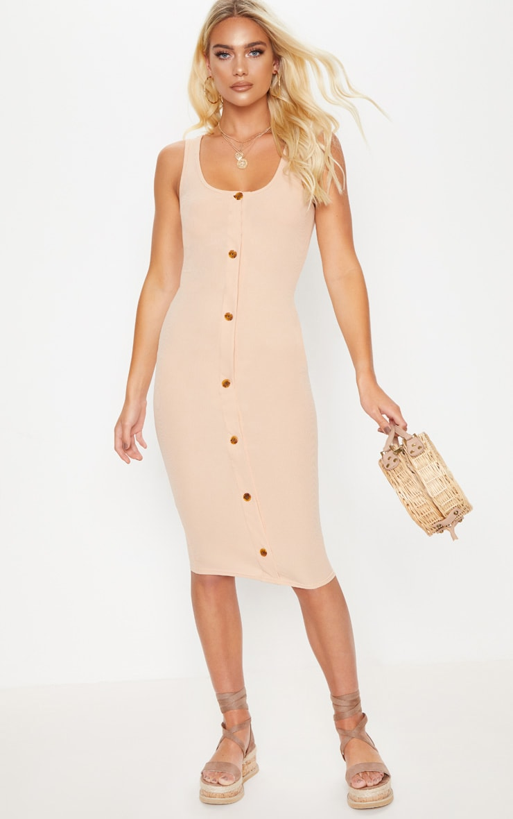 Stone Ribbed Button Detail Midi Dress 4