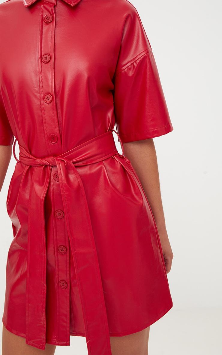 Red Button Up Tie Waist PU Shirt Dress 5