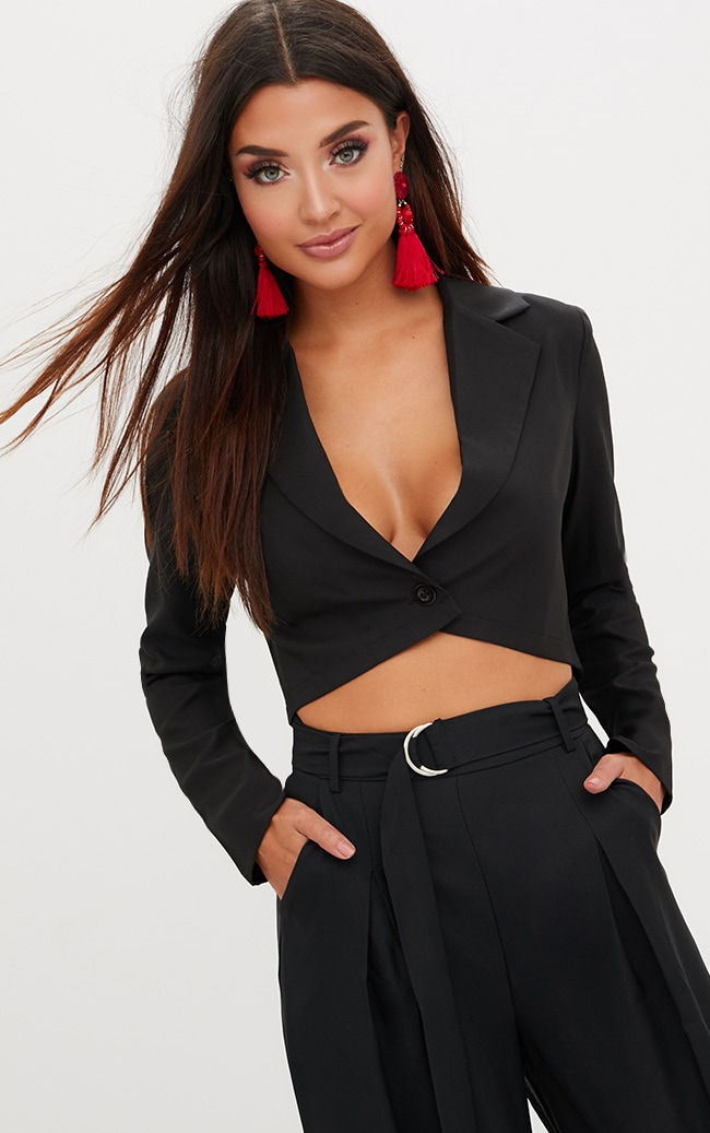 Black Cropped Blazer  1