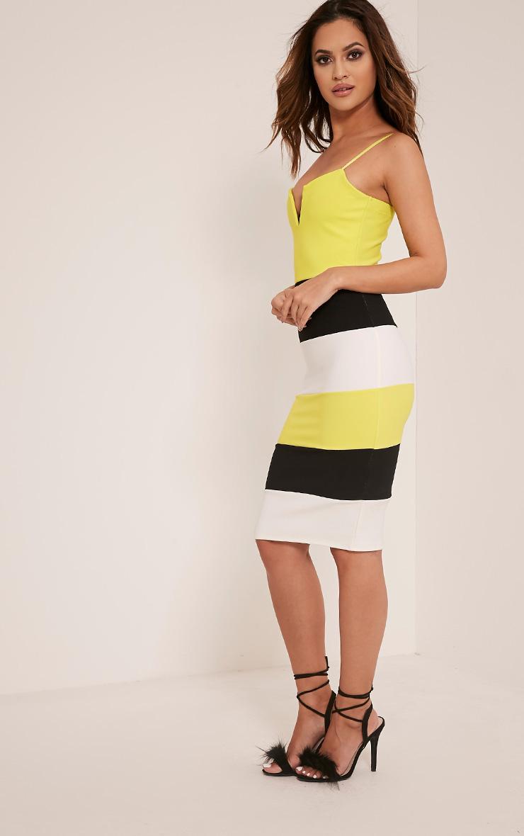 Ebony Lime Green Contrast Colour Block Bandage Dress 4