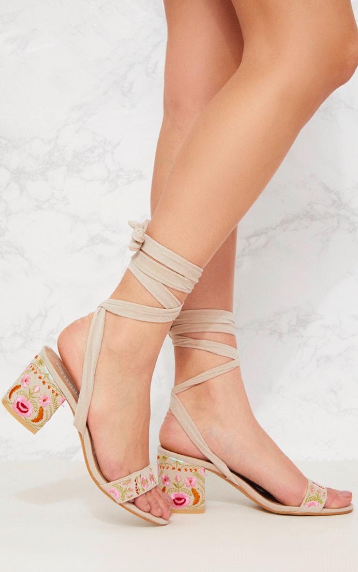 Nude Embroidered Lace Up Block Heeled Sandals 1