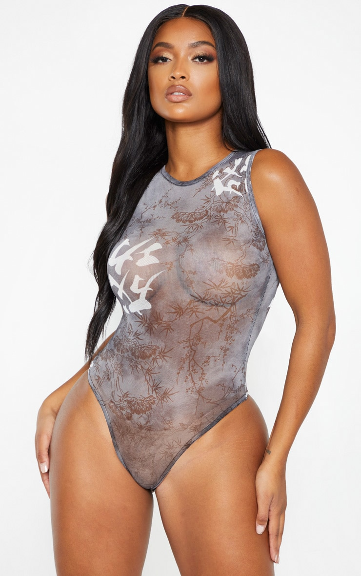 Shape Black Oriental Print Sheer Bodysuit 2