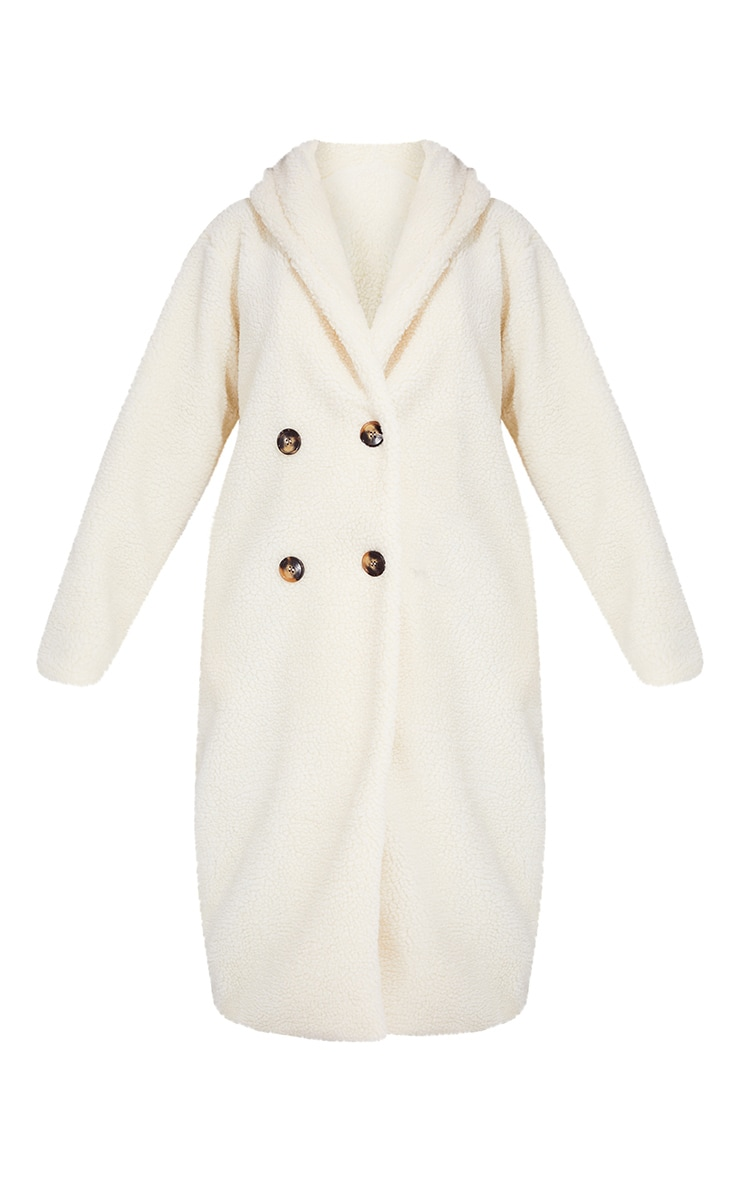 Tall Cream Borg Hooded Midi Coat 5