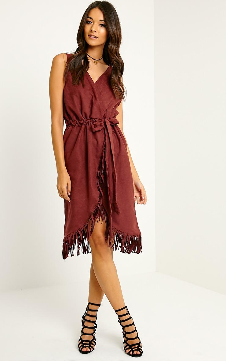 Meg Burgundy Suede Wrap Tassel Dress 3