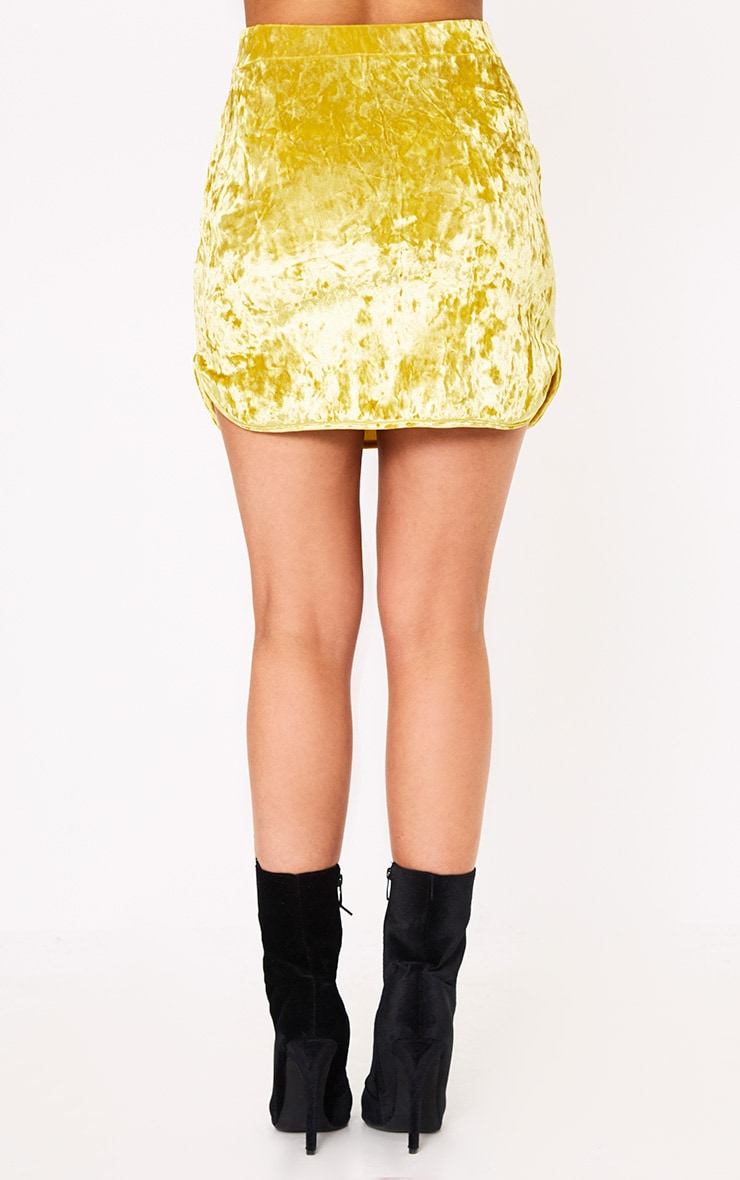 Yellow Velvet Curve Hem Mini Skirt  4