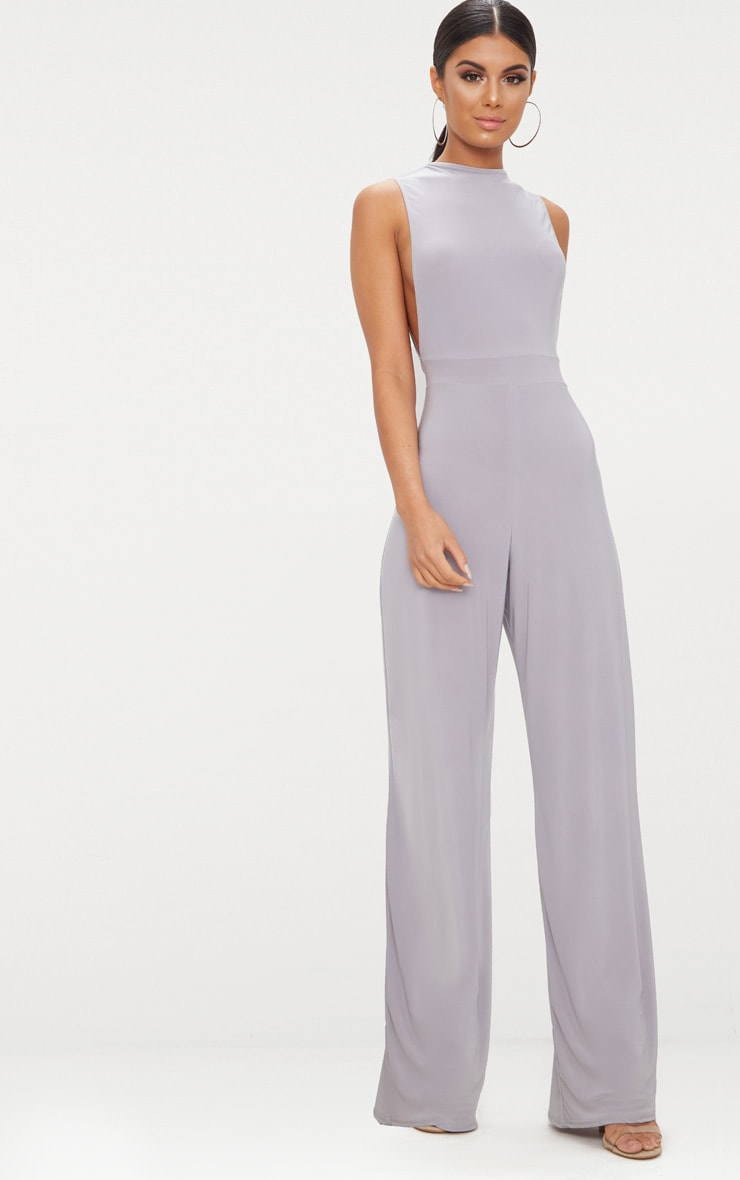 Ice Grey Slinky Side Boob Jumpsuit 1