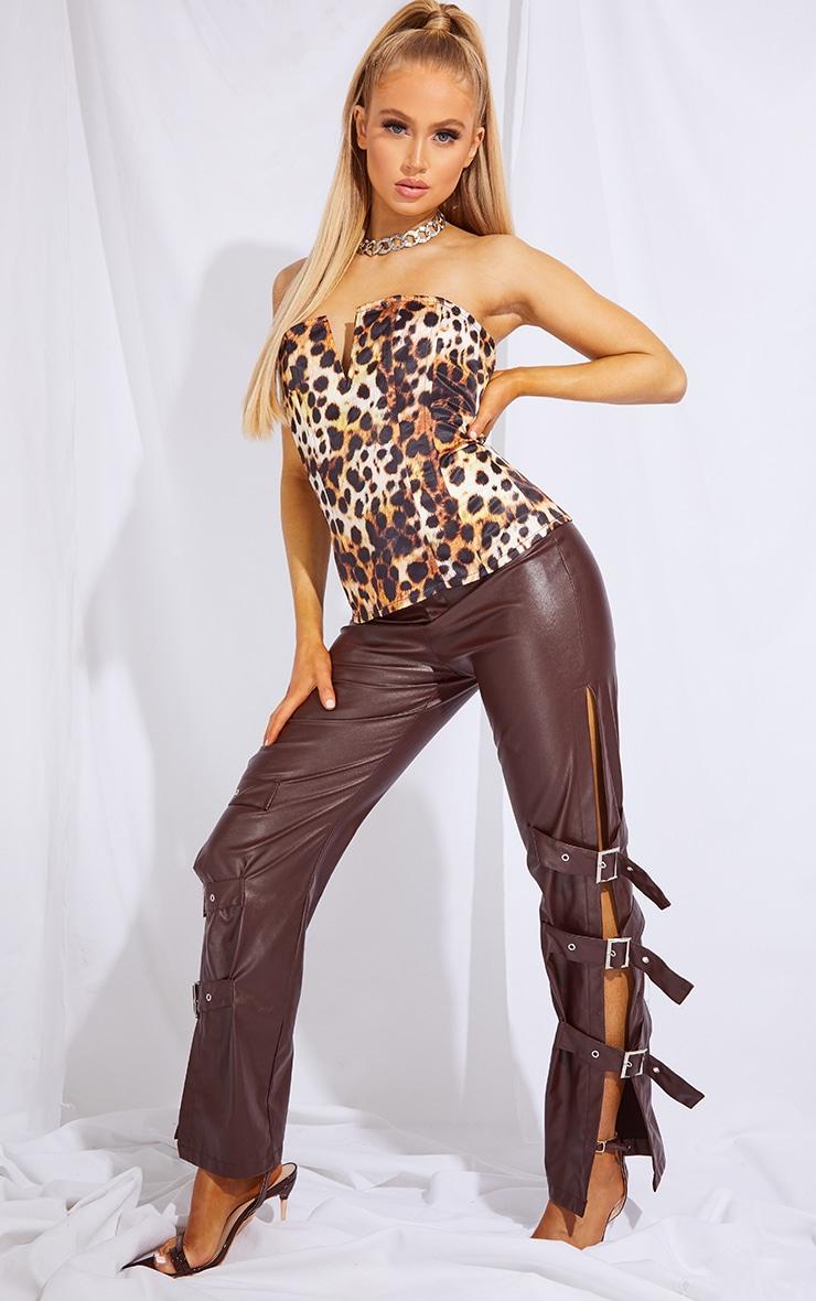 Tan Leopard Print Woven V Wire Bandeau Corset Top 1
