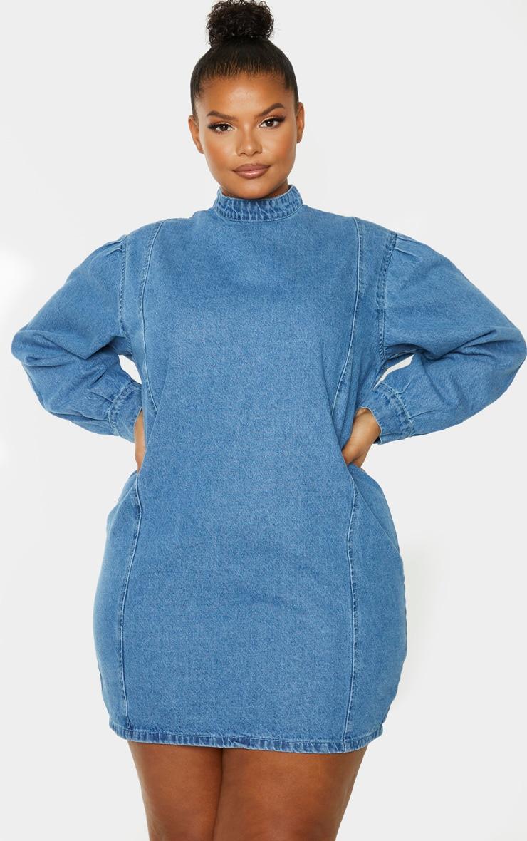 PLT Plus - Robe droite en jean moyennement délavé  1