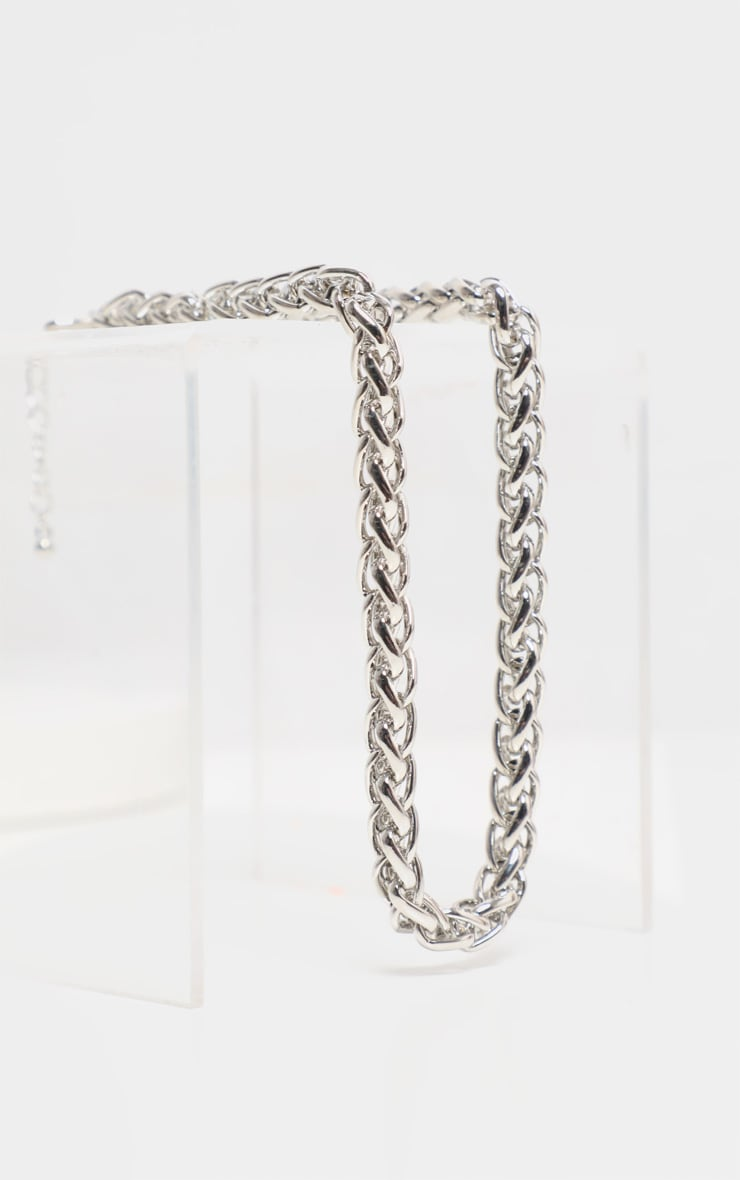 Silver Chunky Rope Chain Necklace 3