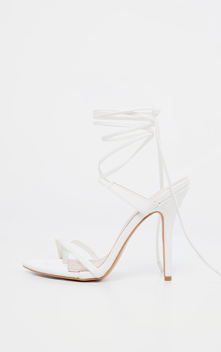 White Mid Heel Toe Loop Ankle Tie Heel 4