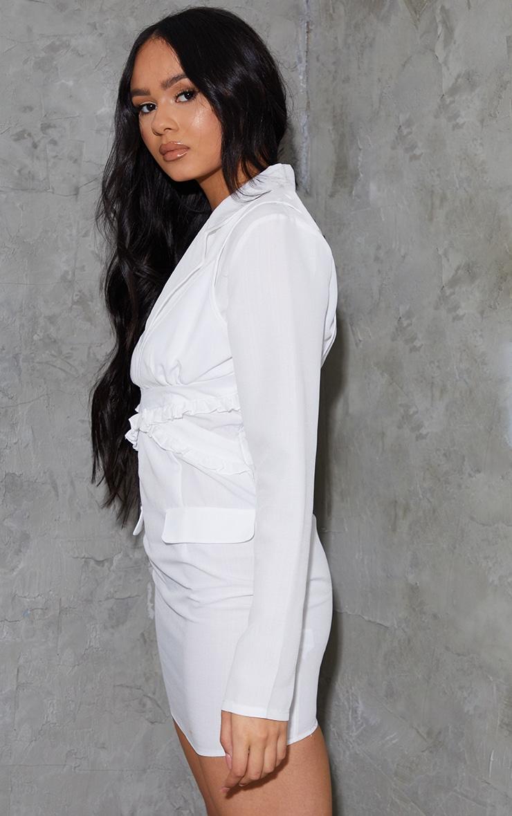 White Linen Bralette Detail Blazer Style Bodycon Dress 2