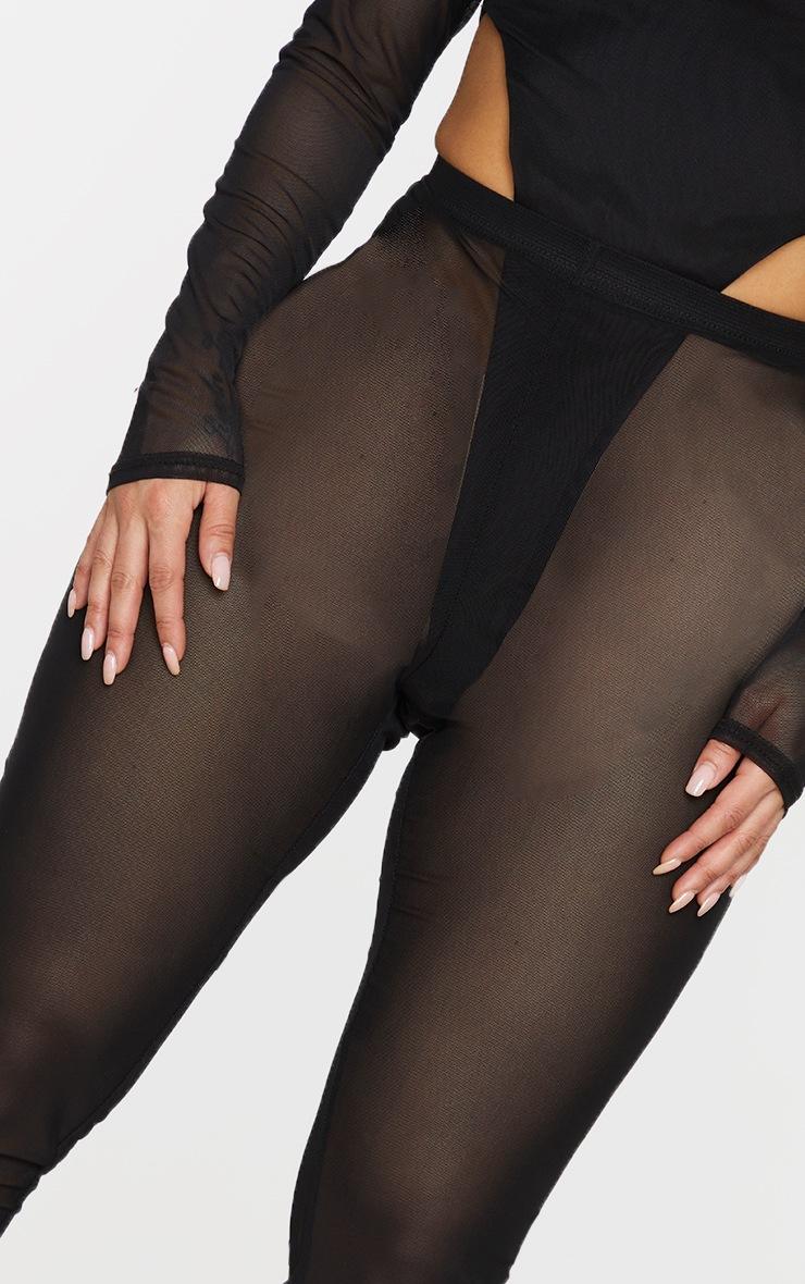 Shape Black Sheer Mesh Ruched Bum Leggings 4