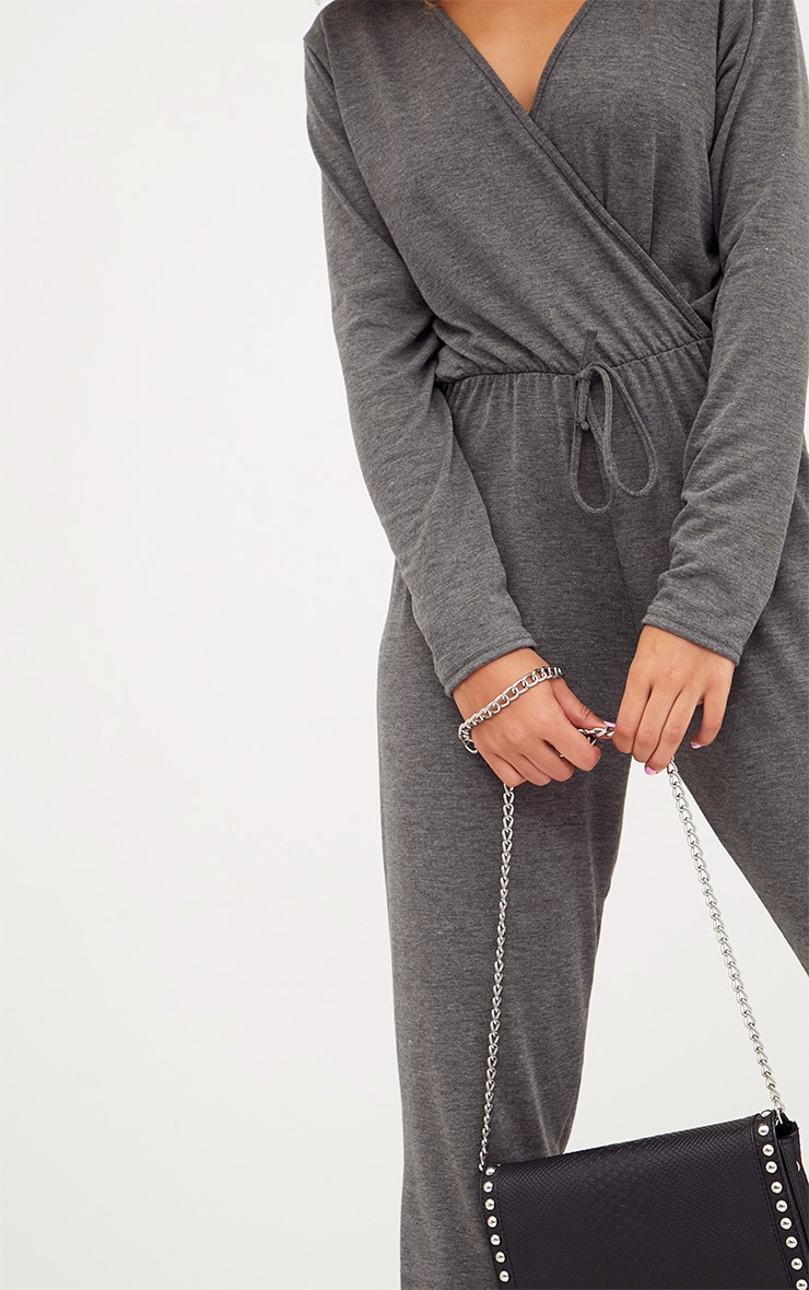 Charcoal Jersey Long Sleeve Wrap Jumpsuit 5