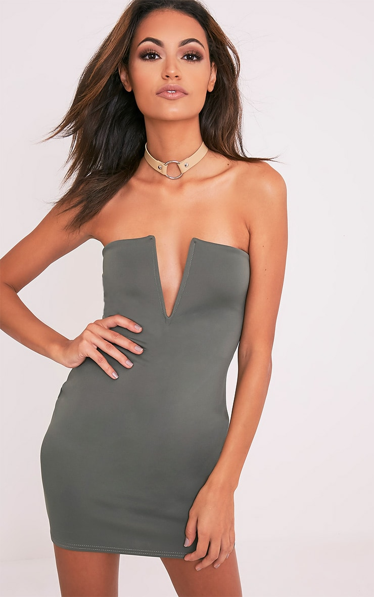 Sofia Khaki V Plunge Bandeau Bodycon Dress 1
