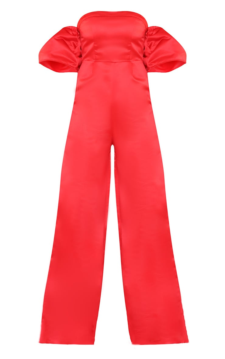 Red Thick Satin Bardot Jumpsuit  3