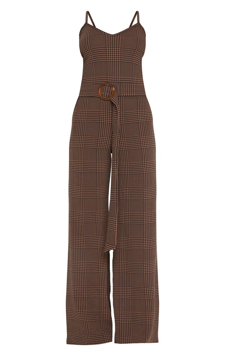 Petite Brown Checked Tortoise Belt Wide Leg Jumpsuit 3