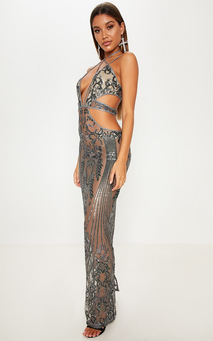 Silver Sequin Sheer Plunge Cut Out Maxi Dress 4