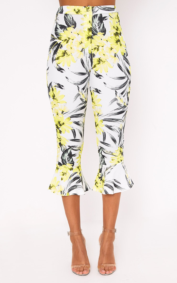 Cream Tropical Floral Flare Hem Trousers 2