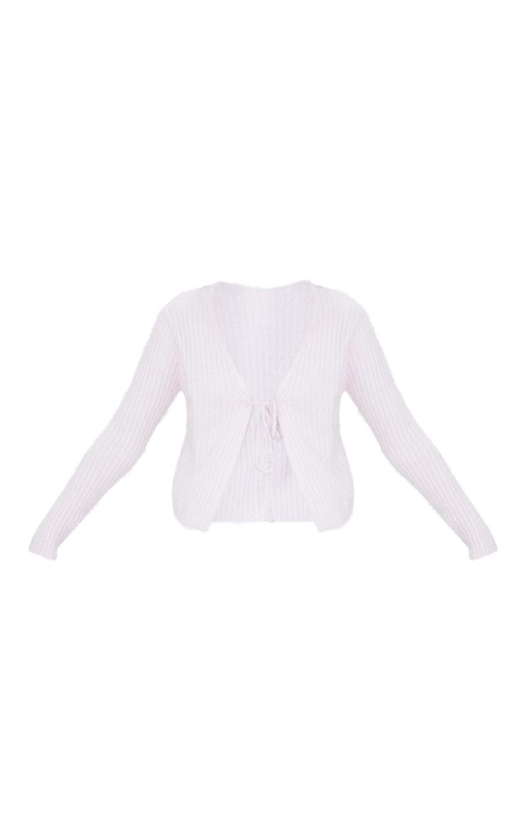 Baby Pink Premium Eyelash Tie Front Knitted Cardigan 5