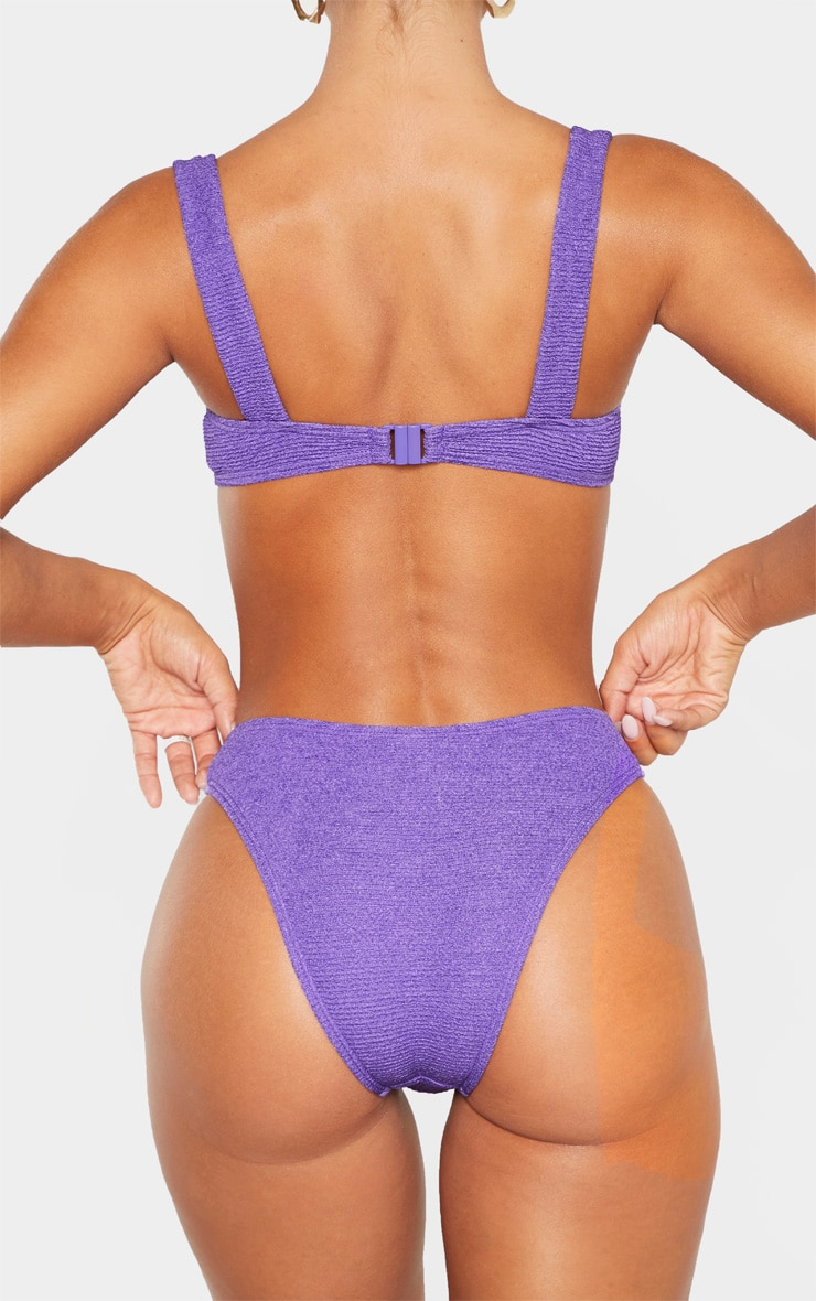 Purple Mini Crinkle Cheeky Bum Bikini Bottom 3