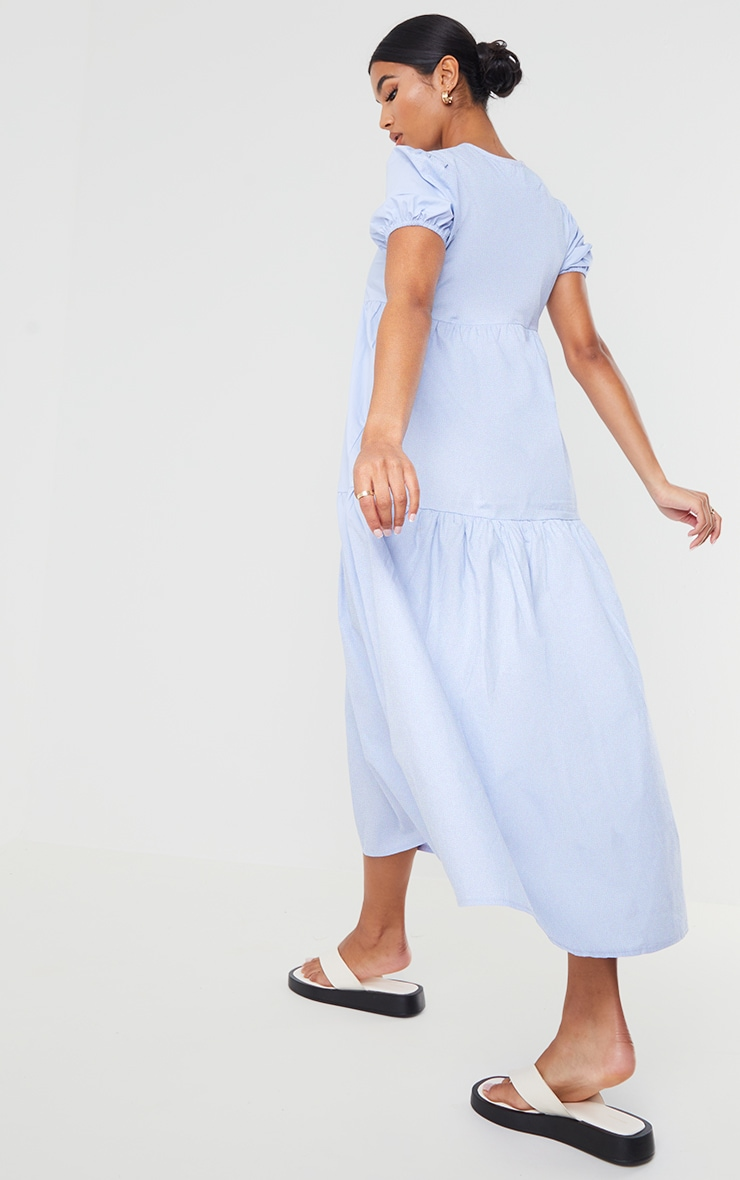 Blue Cotton Tiered Drop Hem Short Sleeve Midi Smock Dress 2