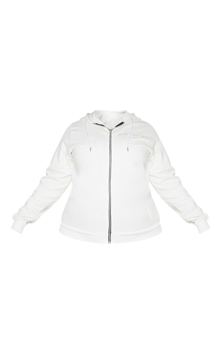 PRETTYLITTLETHING Plus Cream Zip Hoodie 5