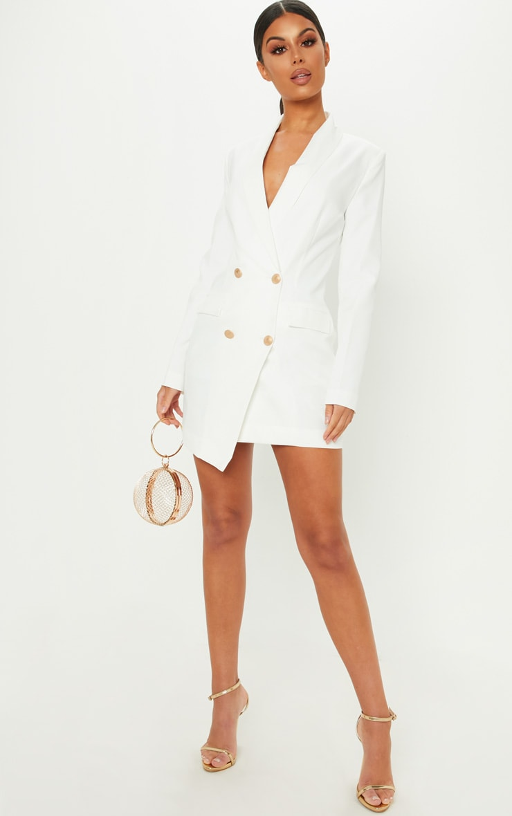 White Gold Button Blazer Dress